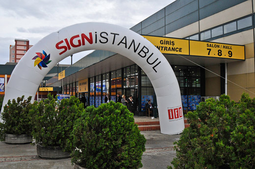 Sign Istanbul 2010, entry to halls 7, 8 and 9. Large format printer expo held at Istanbul, Turkey.